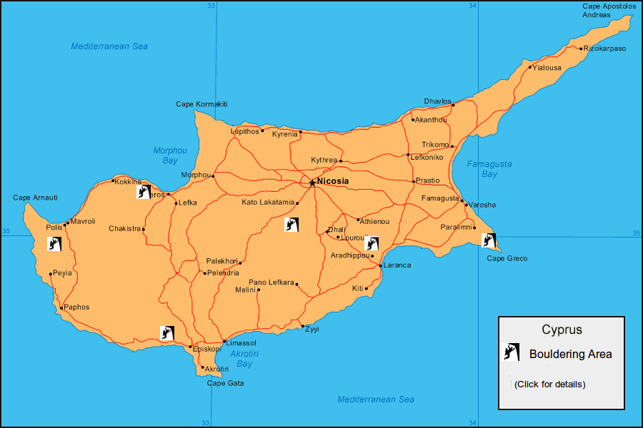 clickable cyprus climbing map of bouldering areas